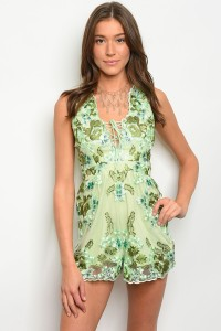 SA3-4-1-R7174 GREEN WITH FLOWERS EMBROIDER ROMPER 3-2-1