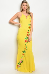 S8-5-1-D07088 YELLOW WITH FLOWER PRINT DRESS 2-2-2