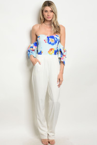 131-3-1-J30182 WHITE BLUE JUMPSUIT 2-3-1