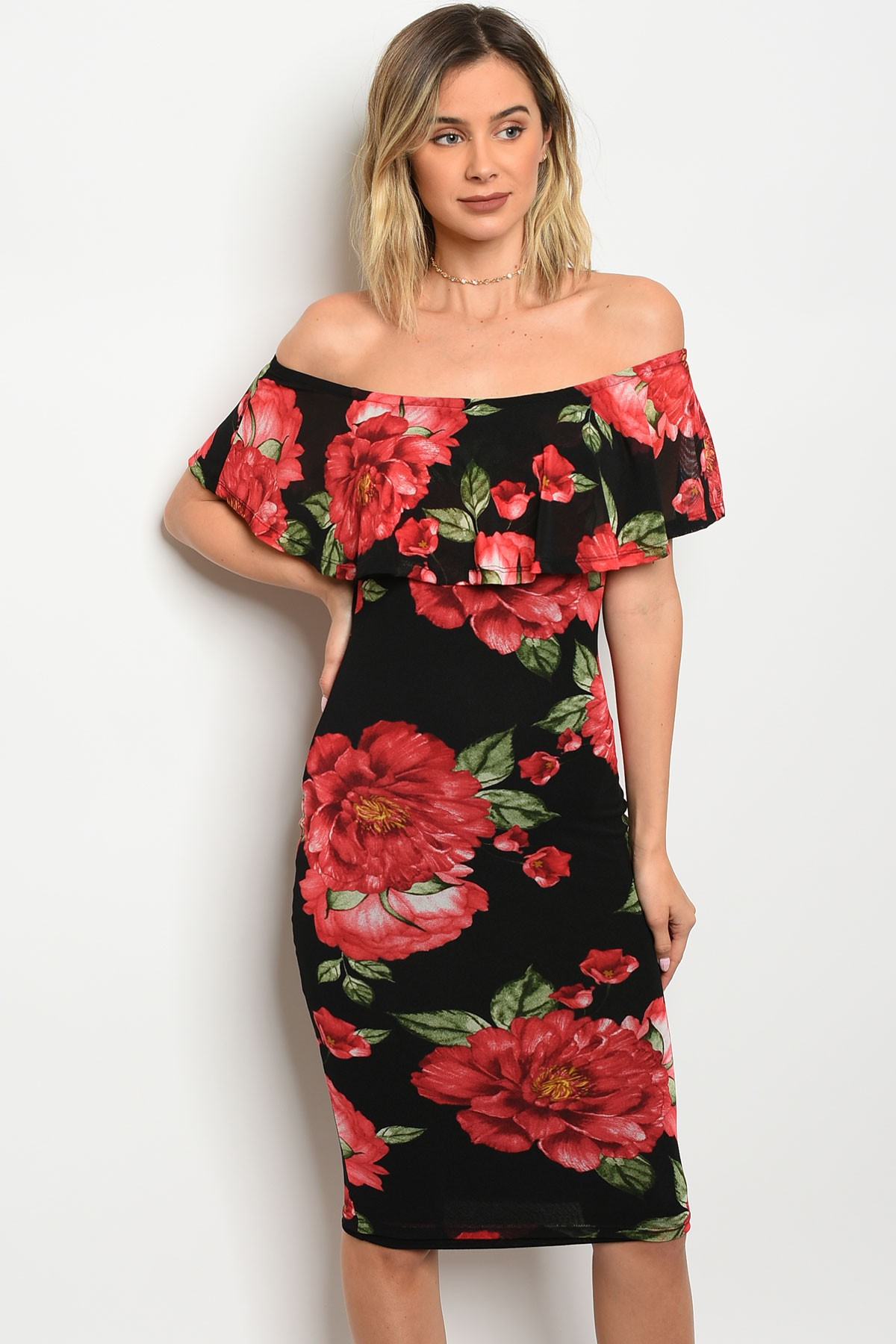 ... BLACK WITH RED FLOWERS DRESS 2-2- · Larger Photo ... cf09174831b2