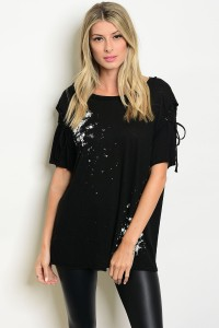 S9-19-2-T4389 BLACK IVORY DISTRESSED TEE TOP / 3PCS