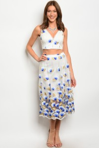 107-2-2-SET03185 OFF WHTIE BLUE TOP & SKIRT SET 2-2-2