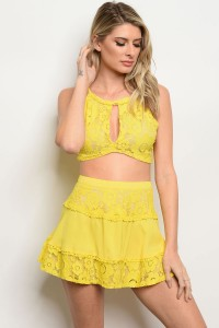 S9-7-3-SET7122 YELLOW TOP & SKIRT SET 3-2-1