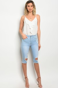 S4-1-4-C9027 LIGHT BLUE DENIM DISTRESSED CAPRI PANTS 1-1-1-2-2-2-1-1-1