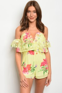 125-1-1-R02712 YELLOW WITH FLOWERS ROMPER 2-2-2