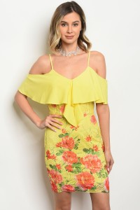 S9-8-4-D07210 YELLOW FLORAL DRESS 2-2-2