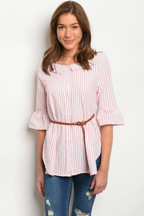 S19-4-1-T1037 WHIET RED STRIPES POPLIN TOP 2-2-2