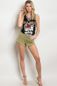 S4-3-3-S12205 OLIVE SHORTS 3-2-1