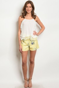 S10-14-1-S1066 YELLOW FLORAL SHORTS 2-2-2