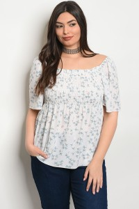 C25-B-4-T5589X OFF WHITE FLORAL PLUS SIZE TOP 2-2-2