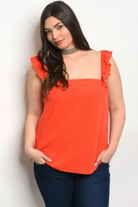 C19-B-3-T5606X ORANGE PLUS SIZE TOP 2-2-2