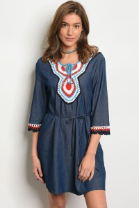 S12-2-1-D84732 BLUE DENIM WHITE DRESS 2-2-2