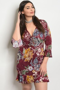 C88-A-2-D2284X WINE FLORAL PLUS SIZE DRESS 2-2-2