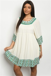 S15-6-4-D59512 CREAM EMERALD DRESS 1-2-3