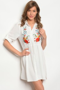 S4-2-1-D120 IVORY WITH FLOWER PRINT DRESS 2-2-2