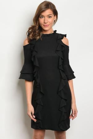 S14-2-5-D90031 BLACK RUFFLE DRESS 2-2-2