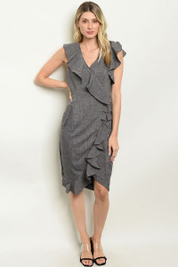 S4-2-2-D0162 CHARCOAL RUFFLE DRESS 2-2-2