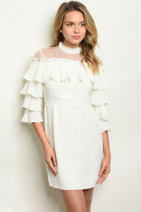 S4-1-2-D1762 IVORY RUFFLE DRESS 2-2-2