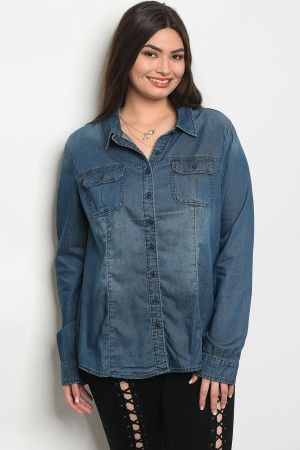 109-4-4-T31248X DARK BLUE DENIM PLUS SIZE TOP 2-2-2
