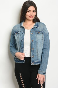 S4-3-1-J30488X MEDIUM BLUE PLUS SIZE JACKET 2-2-2
