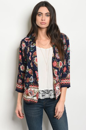 S11-20-4-J59158 NAVY WITH FLOWER JACKET 2-2-2