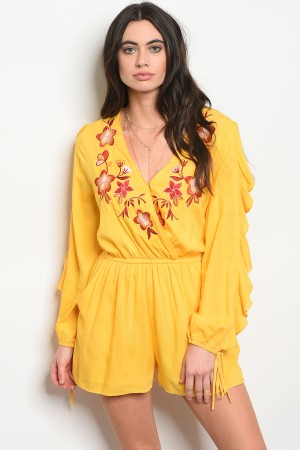 S11-16-4-R38619 YELLOW FLORAL ROMPER 2-2-2
