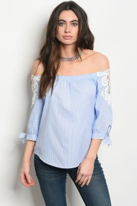 134-2-3-T58444 BLUE WHITE TOP 2-2-2