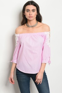 S12-9-1-T58444 PINK WHITE TOP 2-2-2