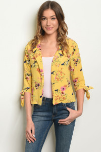 S12-9-3-J59160 YELLOW FLORAL JACKET 2-2-2