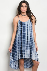 130-1-1-D22787 NAVY TIE DYE DRESS 2-2-2