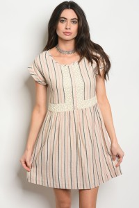 S11-1-1-D22626 NATURAL STRIPES DRESS 2-2-2