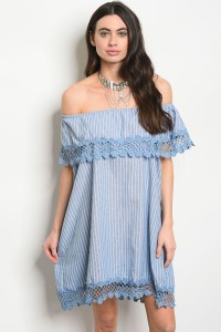 133-2-5-D5010 BLUE WHITE STRIPES DRESS 2-2-2