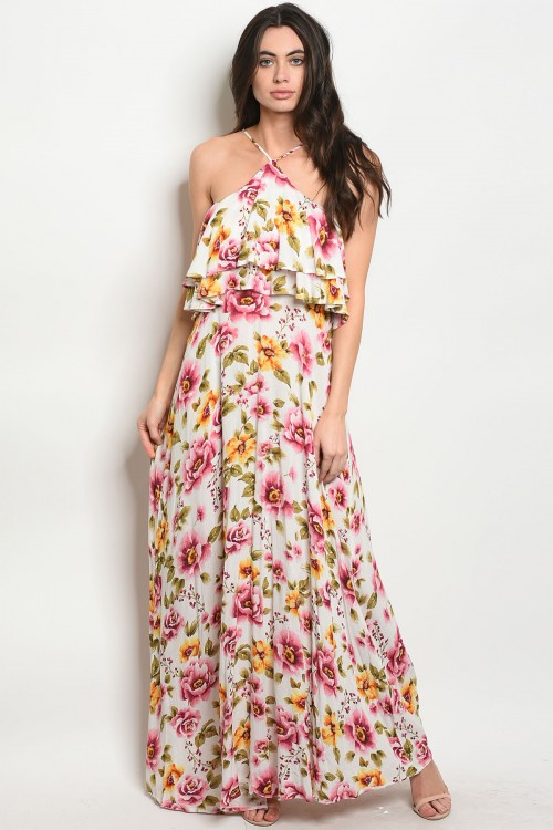 S11-2-4-D193393 OFF WHITE FLORALDRESS 3-2-1