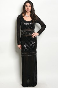 120-3-4-SPY-FEENA BLACK WITH SEQUINS DRESS 2-3-2