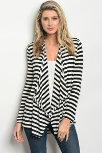 C58-B-2-C037 IVORY BLACK STRIPES CARDIGAN 1-2-2-1