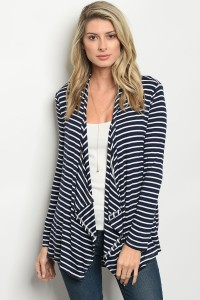 C56-B-3-C037A NAVY WHITE STRIPES CARDIGAN 1-2-2-1