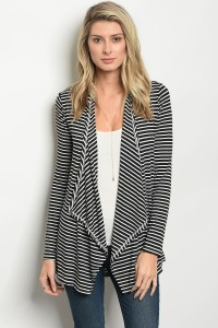 C64-B-2-C037C BLACK IVORY STRIPES CARDIGAN 1-2-2-1