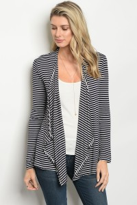 C64-B-2-C037C NAVY IVROY STRIPES CARDIGAN 1-2-2-1