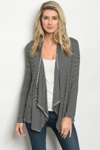 C66-B-4-C037D BLACK IVORY STRIPES CARDIGAN 1-2-2-1