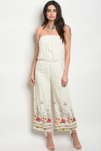 C46-A-2-J1629 IVORY WITH FLOWER PRINT JUMPSUIT 2-2-2