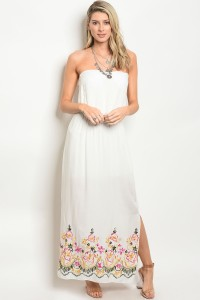 C36-A-1-D9487 OFF WHITE WITH FLOWER PRINT DRESS 2-2-2