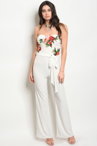 C48-A-2-J1635 OFF WHITE WITH FLOWER PRINT JUMPSUIT 2-2-2