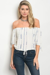 C37-B-3-T12362 OFF WHITE BLUE TOP 2-2-1