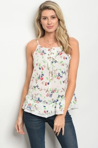 105-1-2-T023 IVORY FLORAL TOP 2-2-2