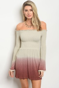 C77-A-4-D4226 BEIGE MAUVE TIE DYE DRESS 3-2-1