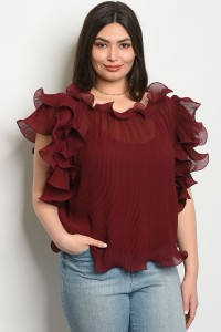S11-3-3-T0108X BURGUNDY PLUS SIZE TOP 2-2-2