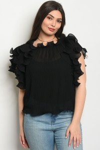 S11-3-3-T0108X BLACK PLUS SIZE TOP 2-2-2