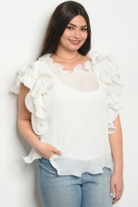136-1-2-T0108X WHITE PLUS SIZE TOP 2-2