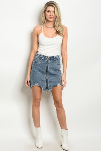 124-1-1-S4003 BLUE DENIM SKIRT 3-2-1-1