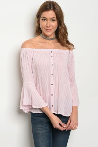 C38-B-2-T1877 PINK WHITE STRIPES TOP 2-2-2